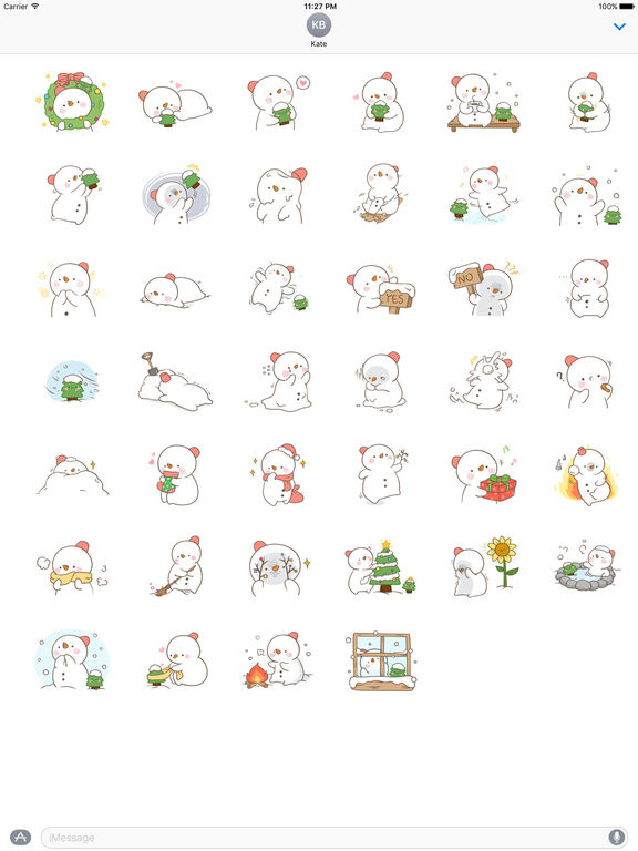 Big Snowman And Cute Christmas Tree Stickers screenshot 4