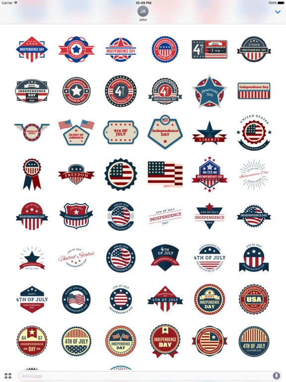 4th of July - 120+ Badge Independence Day Stickers screenshot 8