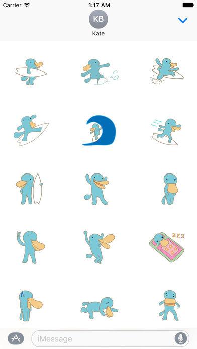 Cute Platypus Surfing Sticker screenshot 1