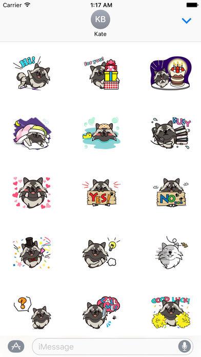 Keeshond Dog - Kees Emoji Stickers screenshot 1
