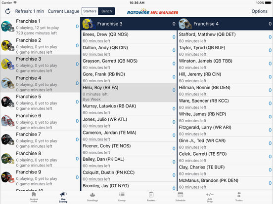 MyFantasyLeague Manager 2017 by RotoWire screenshot 7