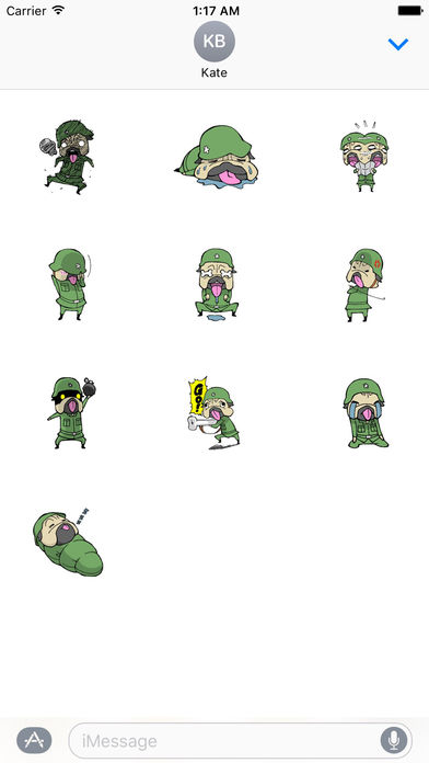 Brave Soldier Pug Dog Stickers screenshot 3