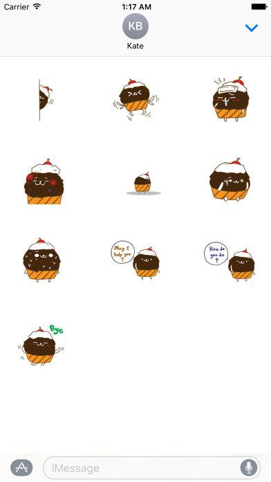 Cute Chocolate Cupcake Sticker screenshot 3