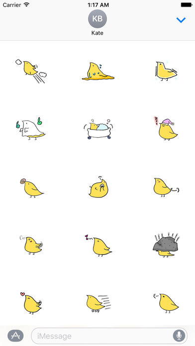 Chidori Cute Yellow Bird Sticker screenshot 2