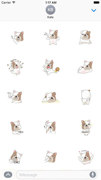 Funny English Bulldog Sticker Pack screenshot 2