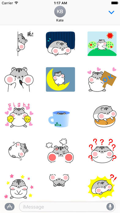 Lazy and Chubby Hamster Animated Gif Sticker screenshot 1