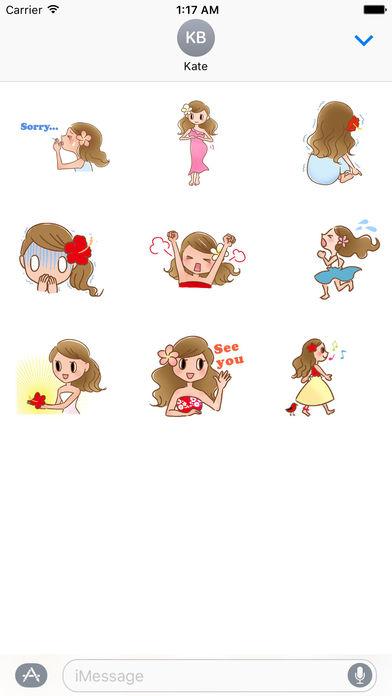 Animated Beautiful Hula Girl Sticker screenshot 2