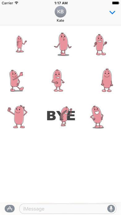 Animated Funny Sausage Emoji Sticker screenshot 2