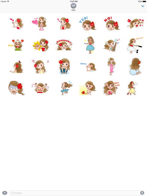 Animated Beautiful Hula Girl Sticker screenshot 3