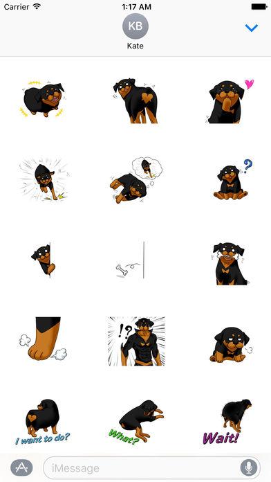 Rottmoji - Rottweiler Dog Emoji Sticker screenshot 1