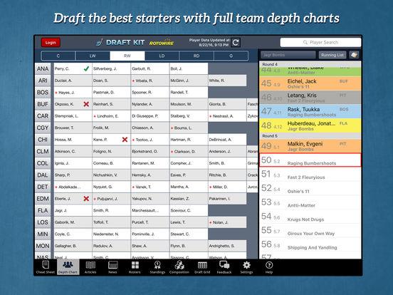 RotoWire Fantasy Hockey Draft Kit 2017 screenshot 8