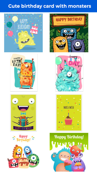Birthdaye Card - Best Wishes with Cute Monsters screenshot 1