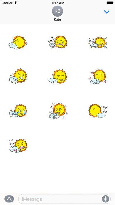 The Sun and Cloud Emoji Sticker screenshot 3