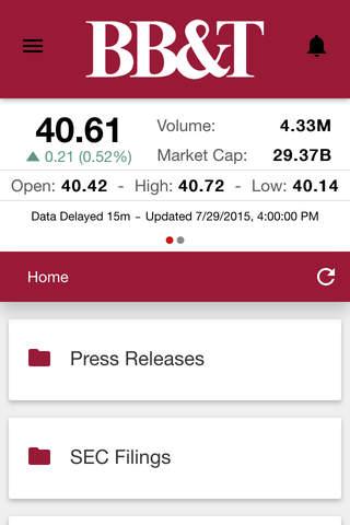 BB&T Investor News App - náhled
