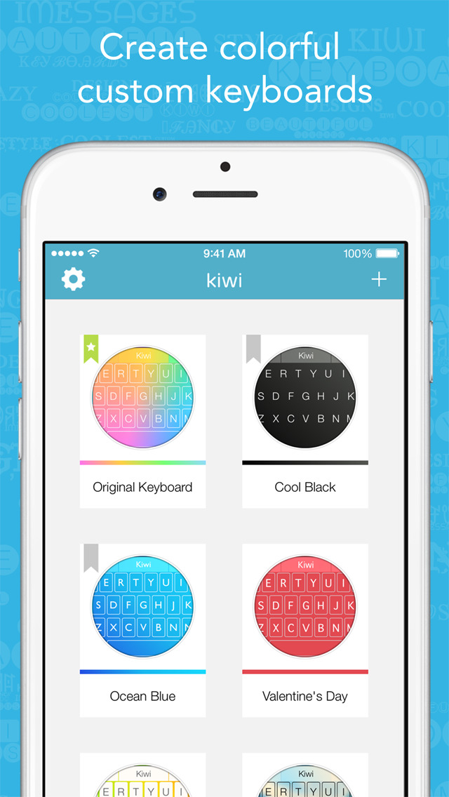 Kiwi - Colorful, Custom Keyboard Designer with Emoji for iOS 8 screenshot 1