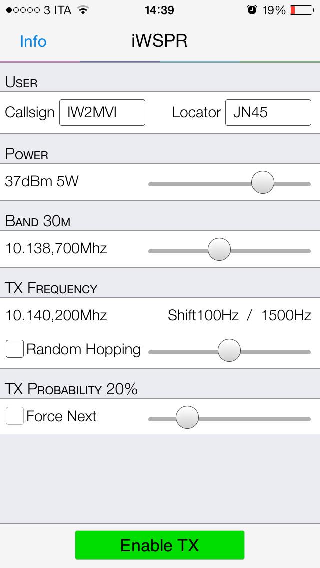 iWSPR TX - QRP Hamradio screenshot 2