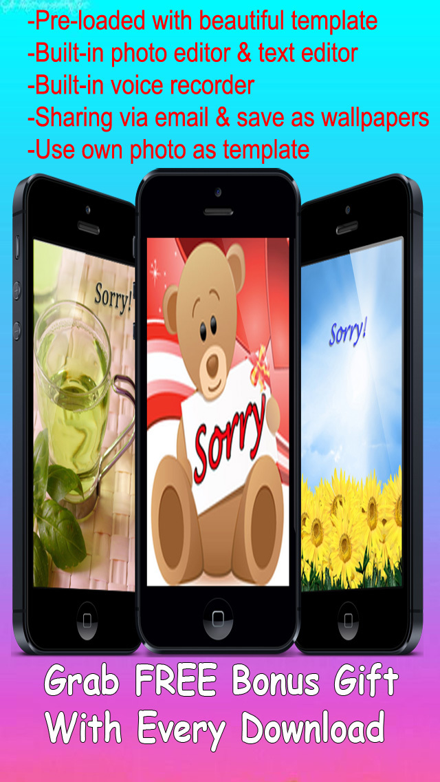 Sorry Cards with photo editor.Send sorry greeting card and custom apology ecards with text and voice messages! screenshot 1