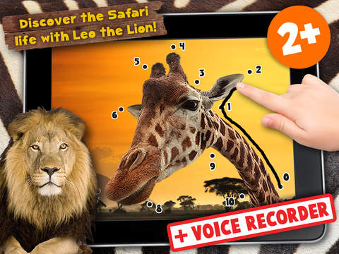 Kids Puzzle Teach me Tracing & Counting with Wild Animals Photo: Draw your own giraffe, zebra, hippo and lion and learn all about the safari screenshot 6