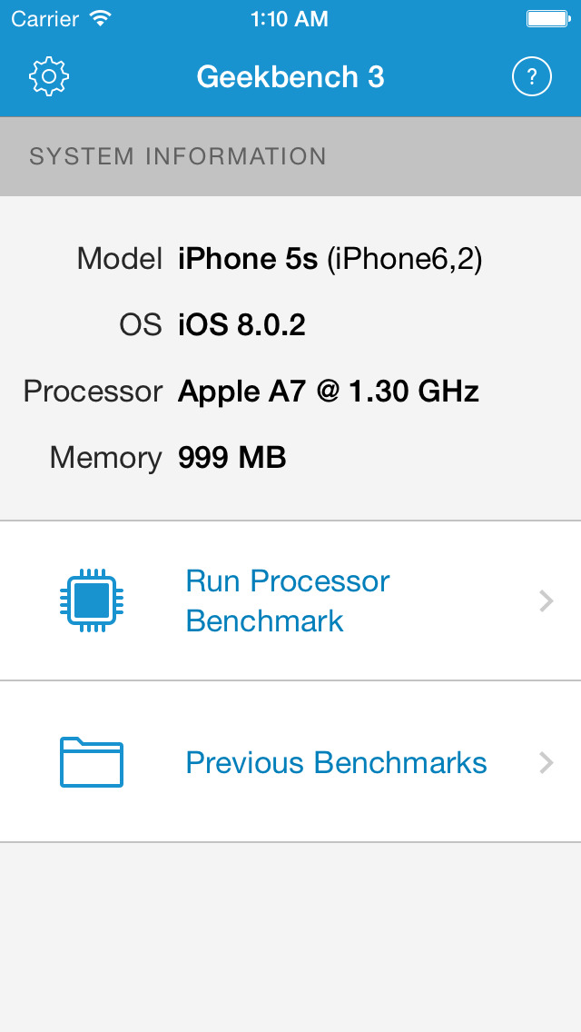 Geekbench 3 screenshot 1