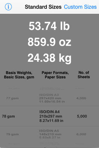 Paper Weight Calculator - náhled
