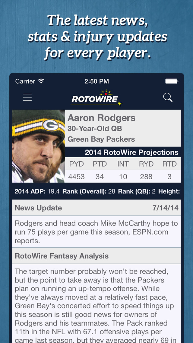 RotoWire Fantasy Football Assistant 2014 screenshot 1