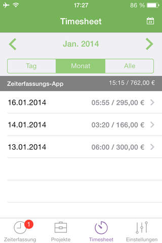 Zeiterfassung Freelance.de - náhled