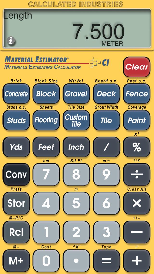 Material Estimator Calculator screenshot 2