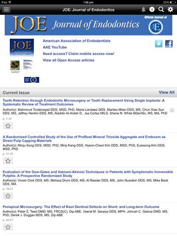 JOE: Journal of Endodontics screenshot 8