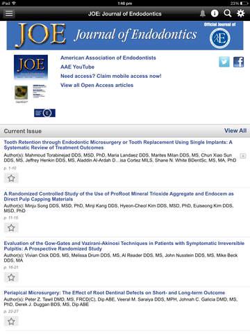 JOE: Journal of Endodontics screenshot 8