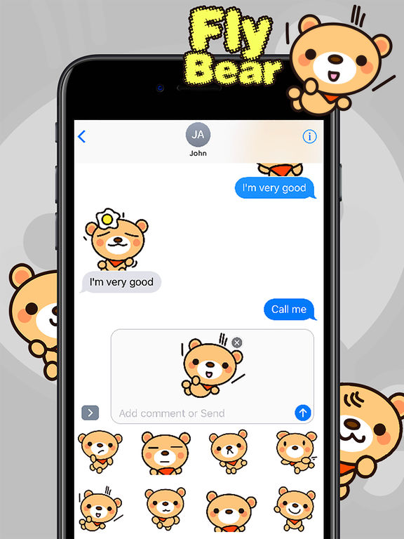 Fly Bear Sticker Pro - Cute & Emotional Stickers screenshot 10
