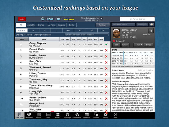 RotoWire Fantasy Basketball Draft Kit 2016 screenshot 6