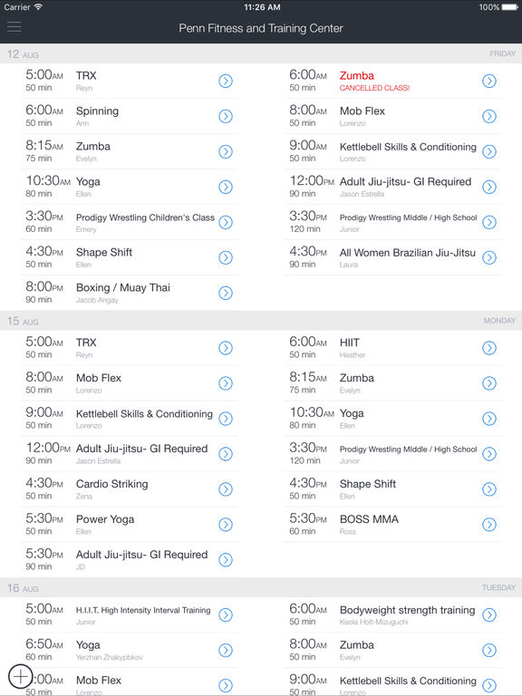 Penn Fitness and Training Mobile screenshot 3
