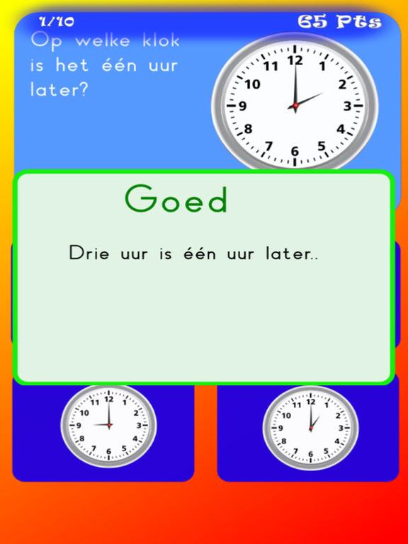 Klokkijken oefenen basisschool HD screenshot 2