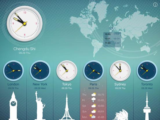 World Clock 2 for colorful clock, world map, time screenshot 7