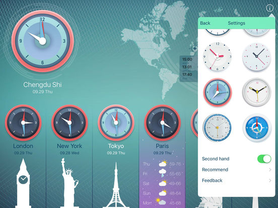 World Clock 2 for colorful clock, world map, time screenshot 8