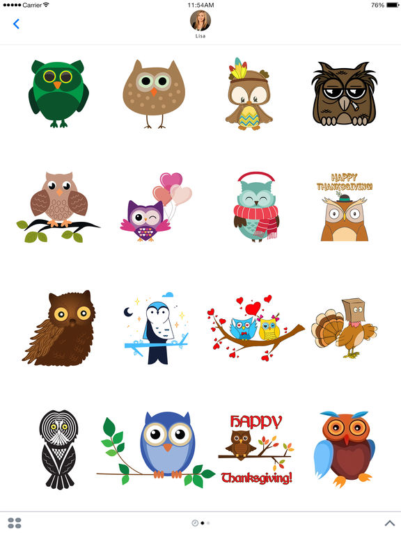 Cute Owl Stickers - Thanksgiving Owls for iMessage screenshot 4