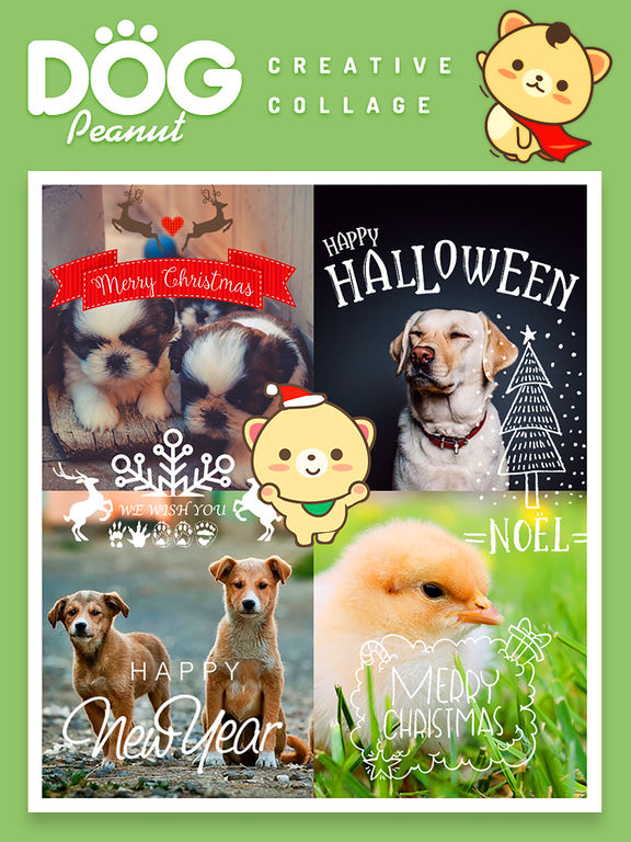 Peanut Dog Collage - Christmas and New Year Emoji screenshot 6
