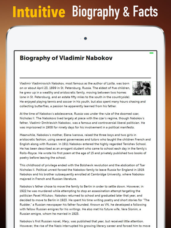 Biography and Quotes for Vladimir Nabokov screenshot 6