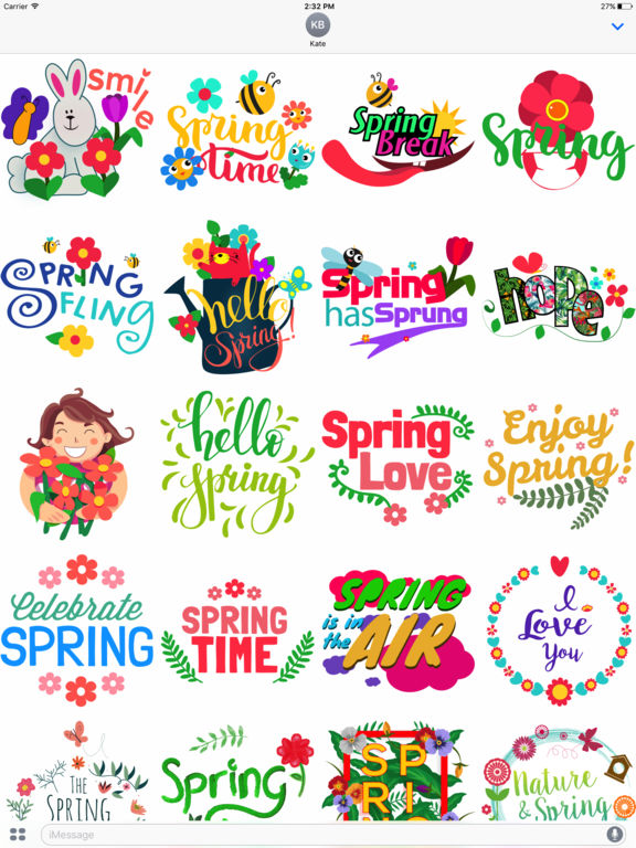 Spring Emoji Stickers for iMessage screenshot 4